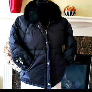 Juicy Couture down fur collar Coat bomber